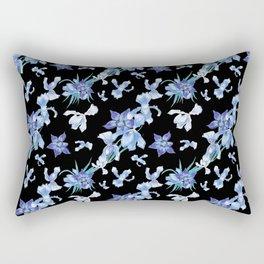 Orchid chic decor (blue & black palette) Rectangular Pillow