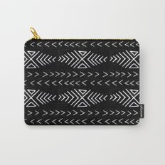 mudcloth 4 minimal textured black and white pattern home decor minimalist Carry-All Pouch