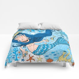 Quirky Mermaid with Sea Friends, Blue version Comforters