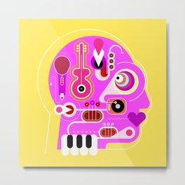 Crazy Music Lover Metal Print