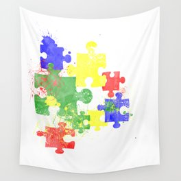 Autism Pieces Wall Tapestry