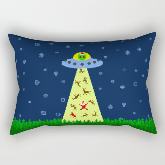 Alien abduction of Santa Claus (sweater) Rectangular Pillow