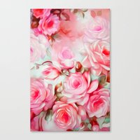 shabby chic Canvas Prints featuring Shabby Chic Pink by Jacqueline Maldonado