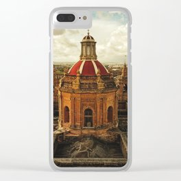 A drone shot of a Roman Catholic Church in Malta Clear iPhone Case