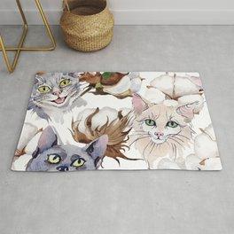 Cotton Flower & Cat Pattern 01 Rug