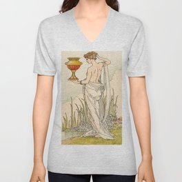 Queen of Cups By Walter Crane Unisex V-Neck