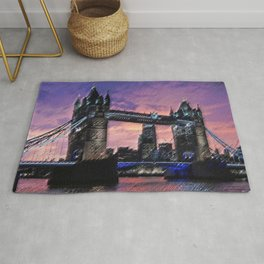 Tower Bridge, London at Sunset Landscape Painting by Jeanpaul Ferro Rug
