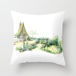 Literary Garden for Wizards and Gnomes Throw Pillow