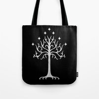 gondor Tote Bags featuring White Tree of Gondor by A. Design