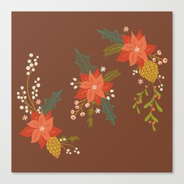 Winter Florals on Brown Canvas Print