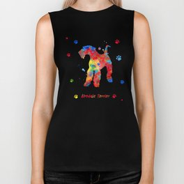 Airedale Terrier Watercolor Colorful Abstract Biker Tank