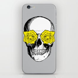 Skull and Roses   Grey and Yellow iPhone Skin