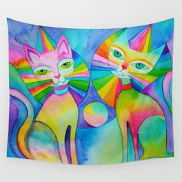 Rainbow Pussies Wall Tapestry