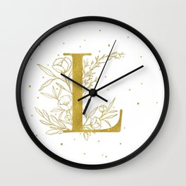Letter L Gold Monogram / Initial Botanical Illustration Wall Clock