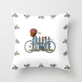 Vintage bicycle with basket full of violets flowers Throw Pillow