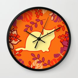 Curious cat, butterflies and leaves Wall Clock