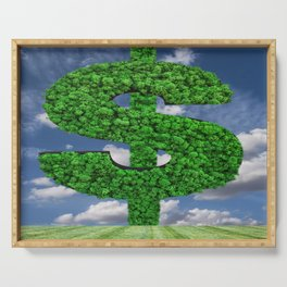 Dollar green grass symbol Serving Tray