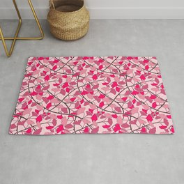 Ginkgo Leaves in Vibrant Hot Pink Tones Rug