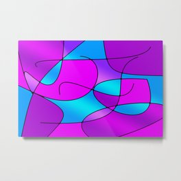 ABSTRACT CURVES #1 (Purples, Violets, Fuchsias & Turquoises) Metal Print