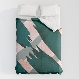 Artsy Modern Emerald Green Pink Brushstrokes Pattern Comforters
