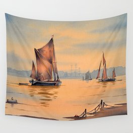 Barges On The River Thames Greenwich London Wall Tapestry