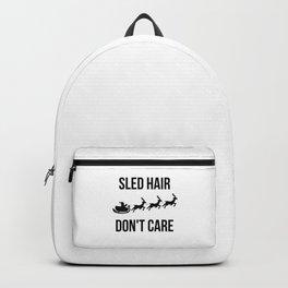 Sled Hair Don't Care Santa Sleigh Christmas Reindeer Backpack