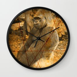 Magnificent Silverback Lowland Gorilla Grunge Photo with Vintage Effects Wall Clock