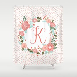 Monogram K - cute girls coral florals flower wreath, coral florals, baby girl, baby blanket Shower Curtain