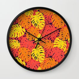 Modern tropical summer yellow orange red cheese leaves floral Wall Clock