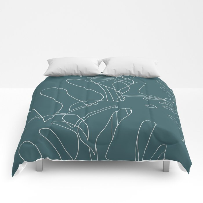 Monstera No2 Teal Comforters