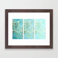 Vincent Van Gogh Almond Blossoms  Panel arT Aqua Seafoam Framed Art Print