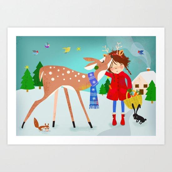 Emma and the deer Art Print