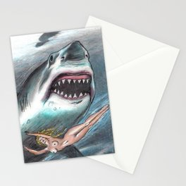 shark woman Stationery Cards
