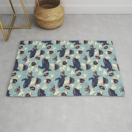 Tropical in red, light blue and dark blue  Rug