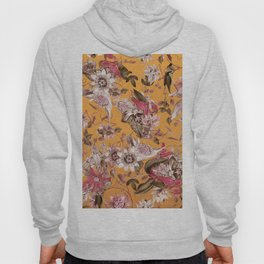 Passion Flower Floral Pattern on Orange Hoody