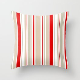Nautical Red and White Stripe Throw Pillow