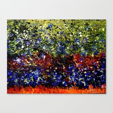 Abstract Painting  - Title: Wild Geese in Flight over Wetland Canvas Print