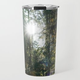Sundown in a French forest in fall Travel Mug