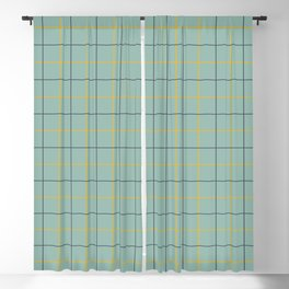 Grid Color Combination Green Blackout Curtain