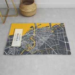 Manila Philippines City Map with GPS Coordinates Rug