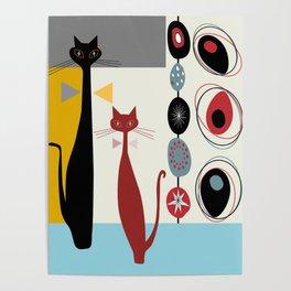 Mid-Century Modern Art Cats Poster