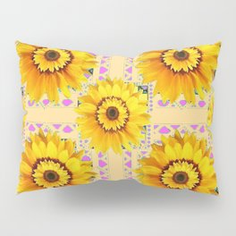CREAM COLOR WESTERN STYLE YELLOW SUNFLOWERS Pillow Sham