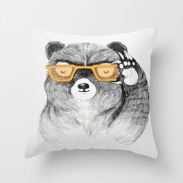 Hipster Bear Throw Pillow