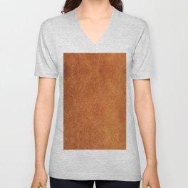 Farmhouse Style Original Camel Leather Oriental Design. Unisex V-Neck