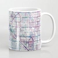 las vegas Mugs featuring Las Vegas map by MapMapMaps.Watercolors