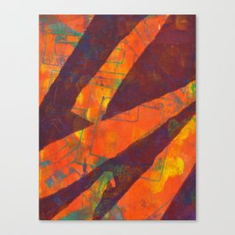 Orange In Slashes Canvas Print