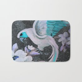 PARROT AND MAGNOLIA IMPRESSION IN BLUE AND LILAC Bath Mat