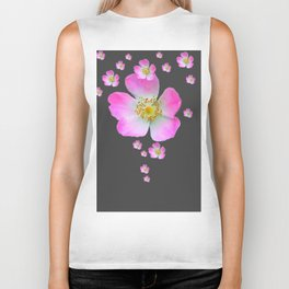 WILD PINK ROSE CASCADE ON CHARCOAL GREY Biker Tank