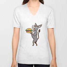 Donkey Mascot Serving Hamburger Isolated Retro Unisex V-Neck