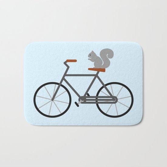 Squirrel Riding Bike Bath Mat